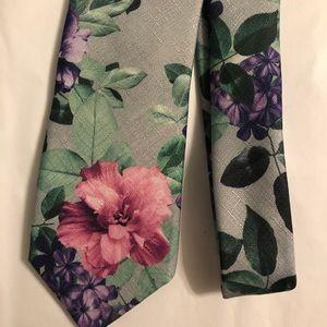 IBT Pink Purple Green Gray Floral Tie